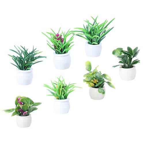 EXCEART 1: 12 Casa de Muñecas Mini Maceta Casa de Muñecas Planta Miniatura Verde Maceta Ornamento Set Macetas Macetas Miniatura para Adorno de Escritorio
