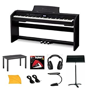 Casio PX780 Digital Piano Bundle With Casio CB7BK Furniture Style Bench  Headphones  Hal Leonard Instructional Book  Instrument Cables  Polishing Cloth  Heavy Duty Music Stand  & Music Stand Light