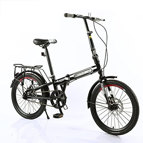 Bicicletas Plegable De 20 Pulgadas Portátil para Adultos Plegable Ligera Estudiantes Freno De Disco (Color : Black, Size : 20 Inches)