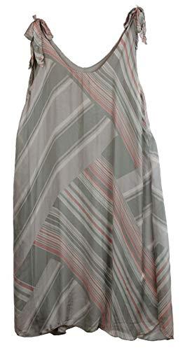 BZNA Ibiza Empire Sommerkleid Taupe gestreift Seidenkleid Bozana Sommer Herbst Seidenkleid Damen Dress Kleid elegant