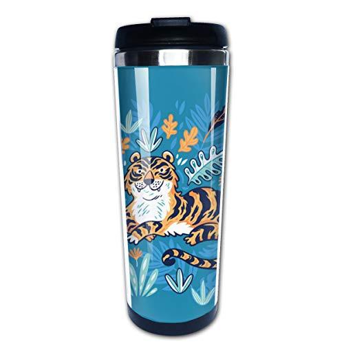 Cavdwa Tiger In Tropical Leaves - Taza de café con Tapa (Acero Inoxidable, con...