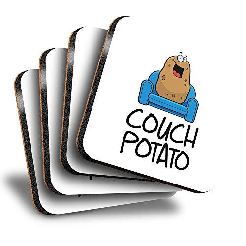 Destination Vinyl ltd Great Posavasos cuadrados (juego de 4) – Sofá patata perezosa bebida brillante posavasos/protección de mesa para cualquier tipo de mesa #13239