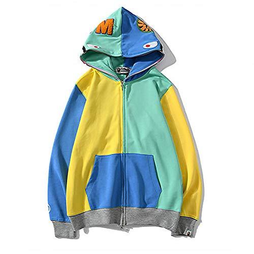 YANL Sudaderas con Capucha Bape,3D Impreso Manga Larga Funny Sweatshirt con Cemallera,Pullover con Bolsillos para Adultos,Yellow Green,XX Large