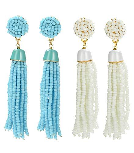 Adramata 2 paia di orecchini con perline lunghe a nappa per donna ragazza