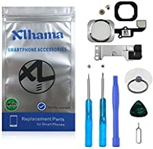 Xlhama Home Button for iPhone 6S / 6S Plus (White) Flexible Cable, Metal Stand Pre-Installed Disassembly Kit Complete Transformation Replacement + Tools Included