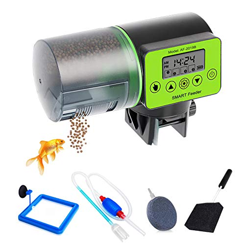 Alimentador Automático Peces, Dispensador Comida Peces, Alimentador de Tiempo, con Ventosa y Bomba de sifón Manual para pecera y Piedra de Burbujas de Disco Redondo y Cepillo de Limpieza para pecera