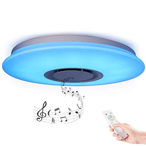 Lámpara de techo LED dimmable Música moderna Semi-Integrada Luminarias instaladas con altavoz Bluetooth 24W dormitorio Sala de estar habitación 40 x 40 x 5.5cm