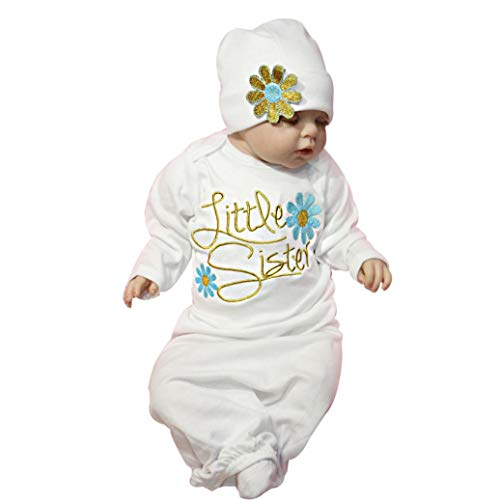 Makaor Newborn Baby Swaddle Blanket Infant Letter Floral Long Sleeve Outfits Sleeping Swaddle Muslin Wrap Hat Set (Size:3M Label Size:0-3M, Blue)