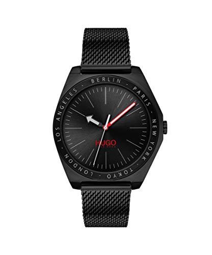 HUGO Unisex-Erwachsene Analog Quarz Uhr mit Edelstahl Armband 1530108