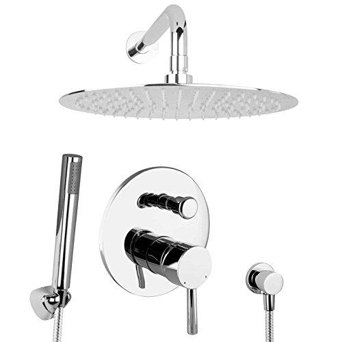 PaulGurkes 30cm Duschsystem Duschset Regendusche unterputz Set rund Tropendusche XL Dusche Regenbrause Überkopfbrause Komplettset Duschtempel Komfortbad