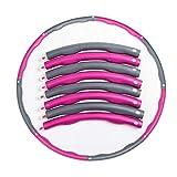 Zerotwo Reifen Fitness Gewichtsverlust Schlankheits Kreis Sportgerät Einstellbares Gewicht beschwerter Hula-Hoop-Reifen Fitness Turnreifen Erwachsene Kinder, mit Mini-Maßband (Pink&Grau)