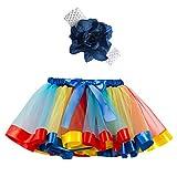 Ropa Infantil Moda 2-11 años Niño Infantil BEBÉ Chica Falda Arco Iris Tutu Fiesta Baile Ballet Mini Vestido Falda Princesa + Conjunto de Bandas para el Cabello 2 Piezas (Azul Oscuro, M 4-7 años)