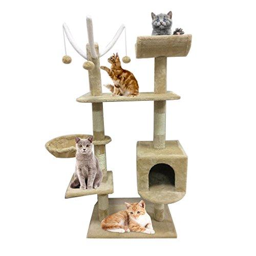 Homgrace Rascador para Gatos | Árbol para GatoJuguete Rascadores para Que los Gatos para Relajarse, Jugar y Descansar Color Beige