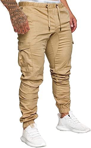 Socluer Cinturón de algodón elástico de los Hombres Pantalones de Carga Largos con cordón Bolsillos Laterales Pantalones Deportivos Pantalones de Jogging Ropa Deportiva (kaqi, L)