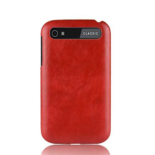 INSOLKIDON Kompatibel mit BlackBerry Classic Q20 Hülle PC Hart Zurück Abdeckung Handy Schutz Schale Ultra Dünn Luxus Stoßstange Fall Anti-Fall Kratzfest Leder Textur (rot)