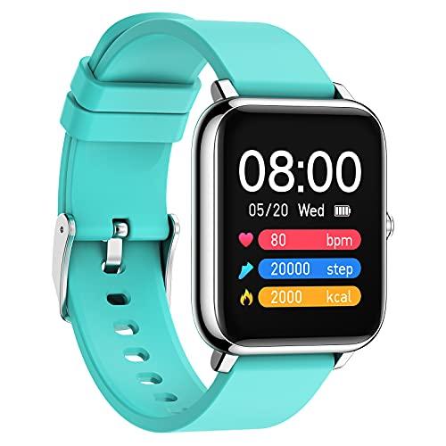QFSLR Smartwatch Reloj Inteligente Fitness con Monitor De Frecuencia Cardíaca Monitor De Presión Arterial Monitoreo De Oxígeno En Sangre Control De Música Hombres Y Mujeres,Azul