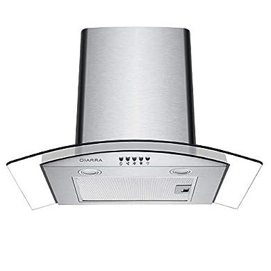 Foto di CIARRA CBCS6506B Cappa Aspirante 60 cm in Vetro e Acciaio Inox, Cappa Cucina per 550 m³/h, 3 gradini, Vetro LED, Scarico/Aria Ricircolata, Filtro per CBCF004 (Argento)