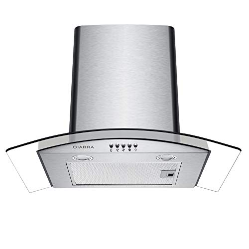 CIARRA CBCS6506B 60cm Glass Cooker Hood Curved Stainless...