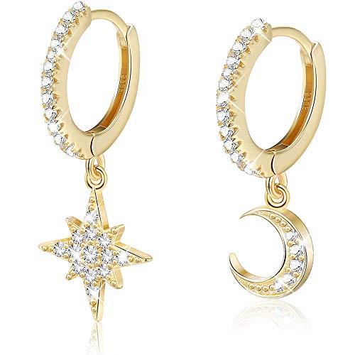 Milacolato 925 Sterling Silber Hängend Ohrringe CZ Hänge Creolen Mond und Stern mit Anhänger Mini Asymmetrische Cartilage Hängende Huggie Ohrringe Damen