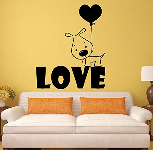 Muursticker-Puppy Hondje Hart Ballon Romantisch 42X51Cm/Sticker/Doorbraak/Zelfklevende Muurschildering/Muursticker/Steen/Muurdoorbraak/Muursticker/Tatoeage