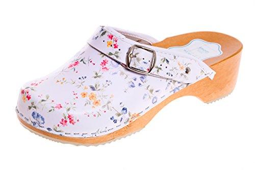 FUTURO FASHION® - Zuecos de Cuero auténtico con Suela de Madera - para Mujer - Colores Lisos Unisex - Tallas 36-42 - Blanco/Flores Azules - 36 EU