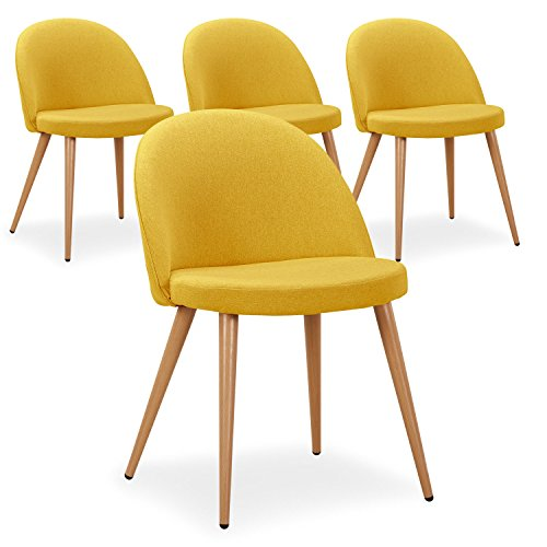 Menzzo - Set di 4 sedie scandinave Maury, in tessuto, colore beige, Tessuto, giallo, 51 x 56 x 75 cm