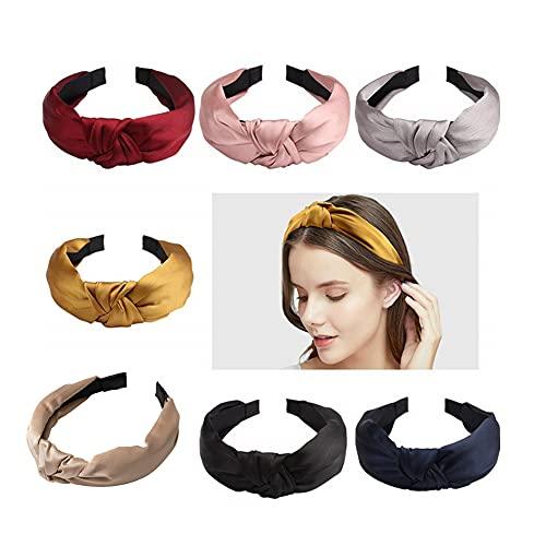 HAIRAN 7 diademas para mujer, estilo vintage, anchas, elásticas, turbante, para deporte, yoga, accesorios para el pelo