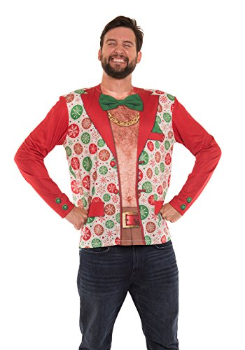 Faux Real Men's 3D Photo-Realistic Ugly Christmas Sweater Long Sleeve T-Shirt, Xmas Shirtless Suit,...