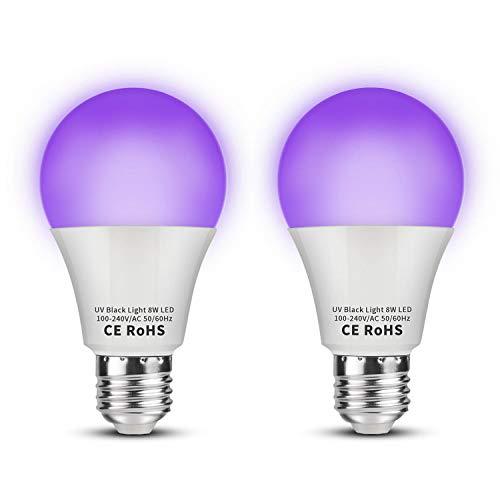 UV-Lampe, LED, 8 W, Schwarzlicht, Violett, E27, 100 – 240 V, Ultraviolett, 395 nm UVA, für Halloween-Effekt, Abend, Malerei