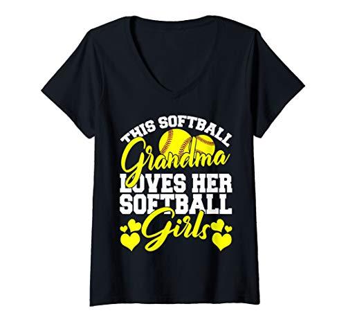 Womens This Softball Grandma Loves Her Softball Girls Softball Gift V-Neck T-Shirt