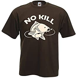 T-Shirt Chocolat No Kill Carpe – Sport Pêche Rivière Catch & Release Poisson