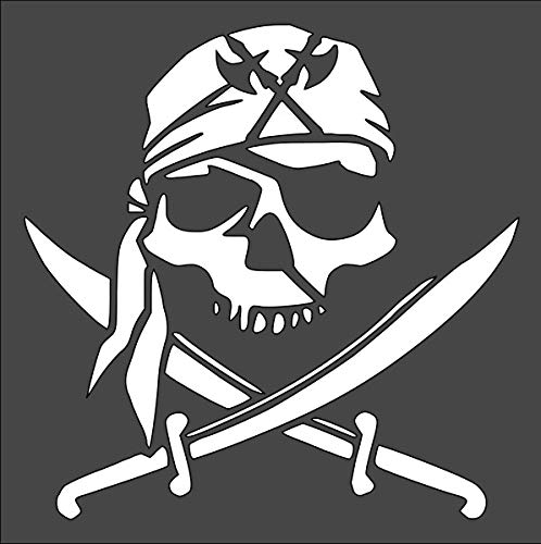 Rubstamper Skull Pirate Logo Stencil Reusable Sturdy Flexible Clear Plastic 1-5.5x5.5 in Arts and Crafts Material Scrapbooking for Airbrush Painting Drawing