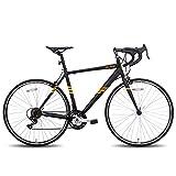 Hiland Rennrad 700c Rennrad Stahl City Commuter Fahrrad mit 14 Geschwindigkeiten Schwarz