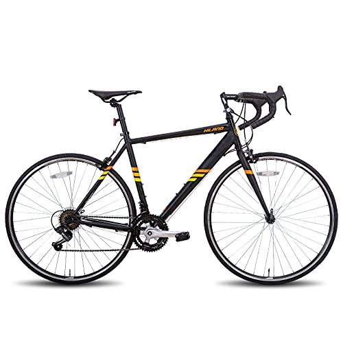 Hiland Bicicleta de carretera 700c de acero, 14 velocidades, color negro