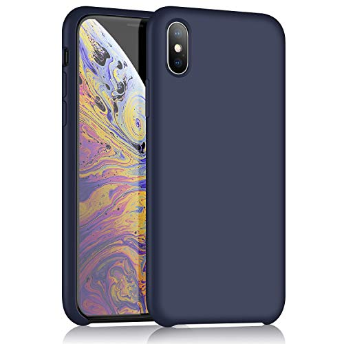 iPhone XR Silicone Case, XSHNUO Liquid Silicone Gel Rubber Ultra Thin Case with Soft Microfiber Cloth Lining Cushion for Apple iPhone XR (2018) 6.1 inch (Midnight Blue)