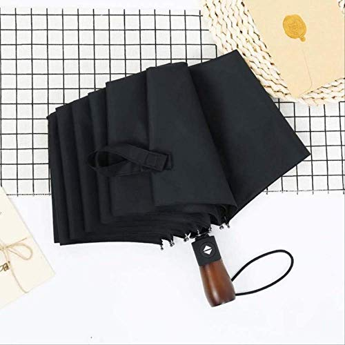Paraguas Creativo para Hombres Y Mujeres 10K Mango De Madera Business Lady Umbrella 33Cm Negro