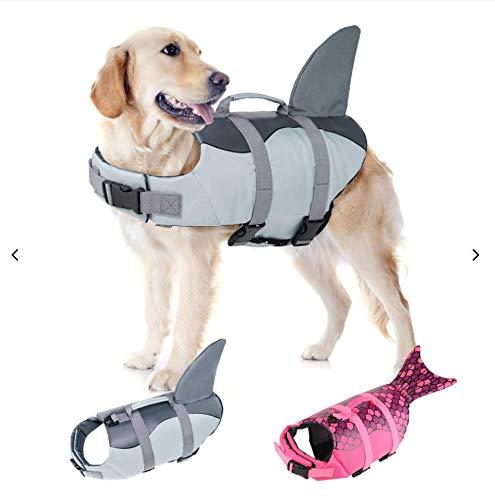 EMUST Large Dog Life Jacket, Dog Life Vests for Swimming, Float Coat Swimsuits Flotation Device Life Preserver Belt LifesaverFlotation Suit for Pet, (XL,Grey)