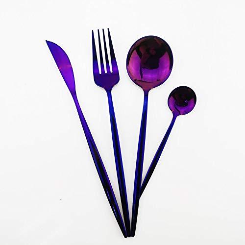 Juego de cubiertos,juego de vajilla Tenedores púrpuras Cucharas Vajilla de cubiertos Juego de vajilla de acero inoxidable 18/10,4 piezas
