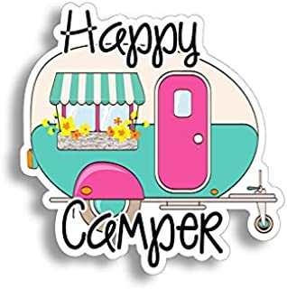 Happy Camper Sticker Car Truck RV Van Trailer Window Bumper Vinyl Retro Decal