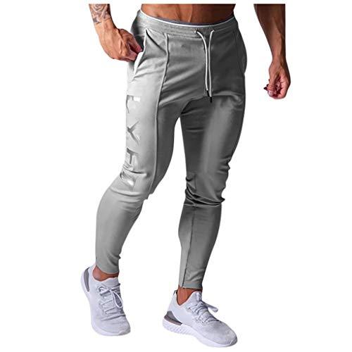 Xniral Herren Jogginghose Modische und Bequeme Einfarbige Sporthose Slim Fit Männer Sporthose Fitness Hose Freizeithose Streetwear(a Grau,M)