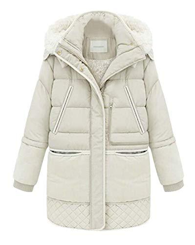 H&E Manteau parkas à capuche pour femme avec col montant doublé Sherpa - Blanc - X-Small