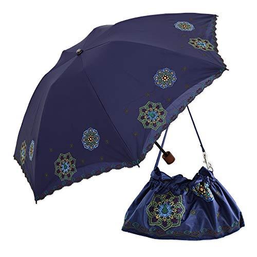 日傘 折りたたみ 遮光 遮熱 UVカット 3段折りたたみ日傘 晴雨兼用傘 軽量 刺繍 スワロフスキー (ネイビー)