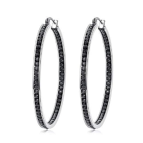CiNily Mult-Colors Crystal Stainless Steel Hoop Earring for Women Hypoallergenic Jewelry for Sensitive Ears Large Big Hoop Earrings 2' Black