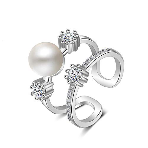 Open Ring for Women Hollow Fashion Diamond-studded Pearl Personality Adjustable Zircon Fashion Ring Gift for Valentine