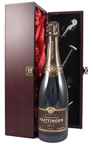 Taittinger Brut Millésimé Vintage Champagne 2013 in einer mit Seide ausgestatetten Geschenkbox. Da zu vier Wein Zubehör, Korkenzieher, Giesser, Kapselabschneider,Weinthermometer, 1 x 750ml