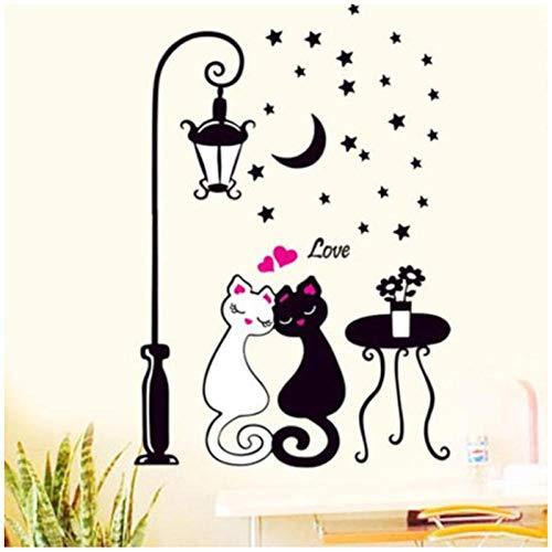 Zhaoyangeng Home Decor Woonkamer Slaapkamer Muurstickers Liefhebbers Kat Vloerlampen Zwart en Wit Behang Kat Sticker