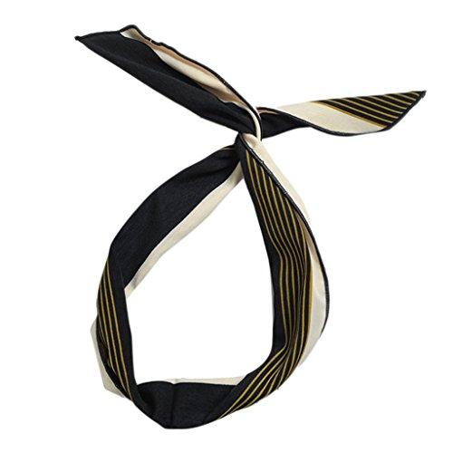 Gwxevce Femmes Mignon Lapin Lapin Oreilles Filles Cheveux Wraps Bandeau Écharpe DIY Fil Ruban Arc Nouvelle Armée Vert + Marine Rayé