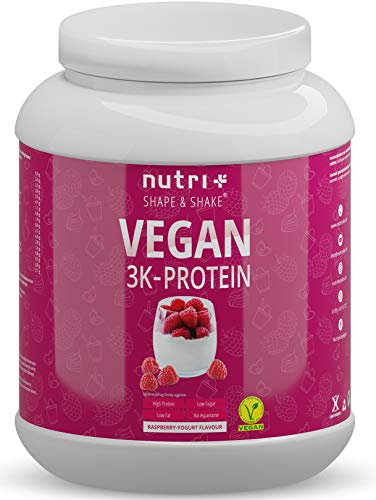 Vegan Protein Powder Raspberry Yoghurt 1kg - 3k Plant Based Drink for Muscle Building and Recovery - Lactose Free Low Sugar - Nutri-Plus Shape & Shake - 1000g