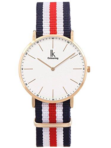 Alienwork Damen Herren Armbanduhr Quarz Rose-Gold mit NATO-Armband blau Ultra-flach Slim-Uhr