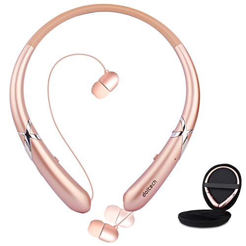 Bluetooth Headphones, Doltech Bluetooth 5.0 Neckband Headphones Noise Cancelling Headset with Carrying Case Retractable Earbuds Stereo Earphones with Mic (Rose Gold)
